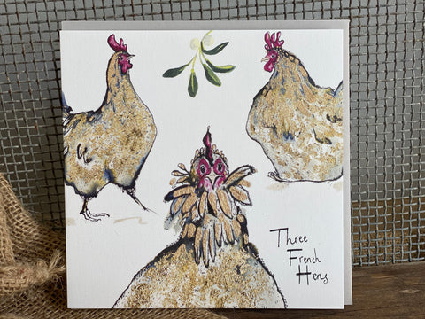 3 French Hens Christmas Card