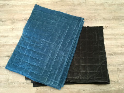 Washed Velvet Blue Throw