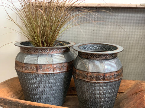 Set of 2 Galvanised Planter Urn