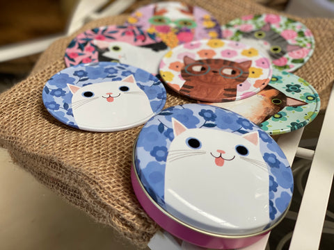 QUIRKY CAT Coasters in TIN