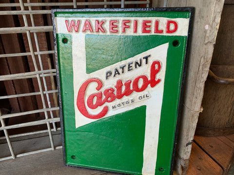 Cast Iron WAKEFIELD Castrol Sign