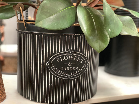 Classic Black Tin Planter with Handles