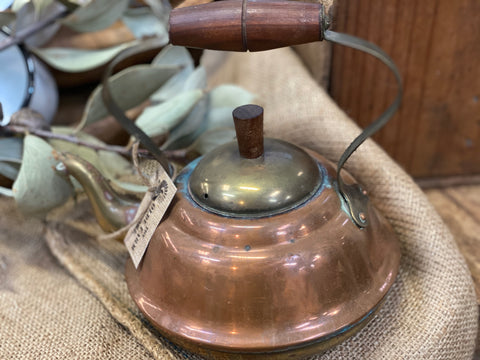 Vintage Copper Tea Pot with Timber Handle