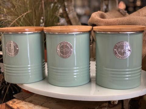 NEW Sage Tea, Coffee and Sugar Canister Set