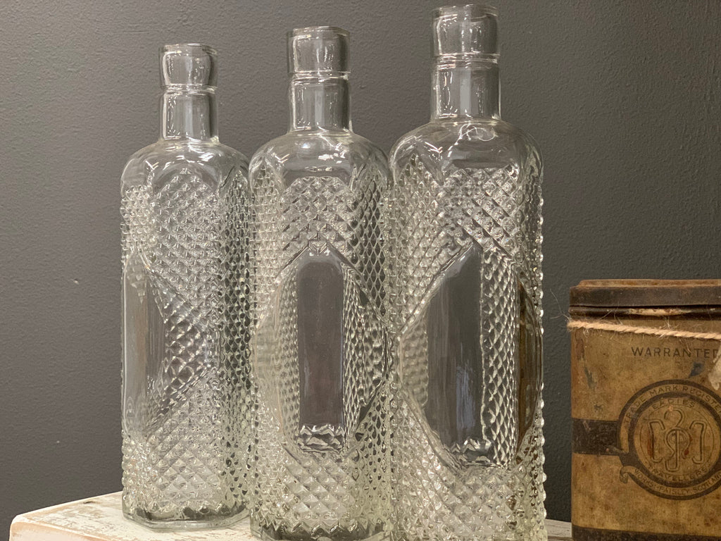 Set of 3 Vintage style NEW  Glass Bottles