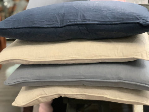 100% Linen Feather Cushion SLATE Grey