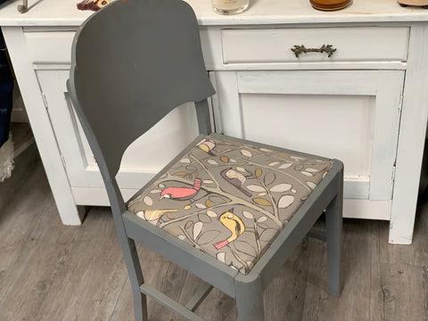 Chalk Painted and Re- Covered Vintage Chair