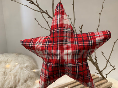 Large Gingham Fabric Christmas Star