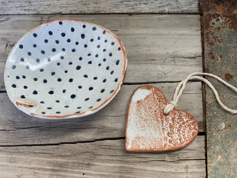Handmade Blue Dot Dish and a Heart Set