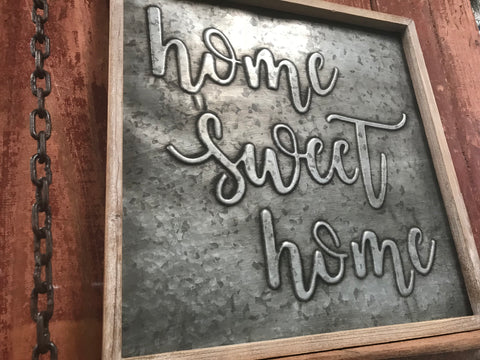 GALVANISED Home Sweet HOME Timber Framed Sign