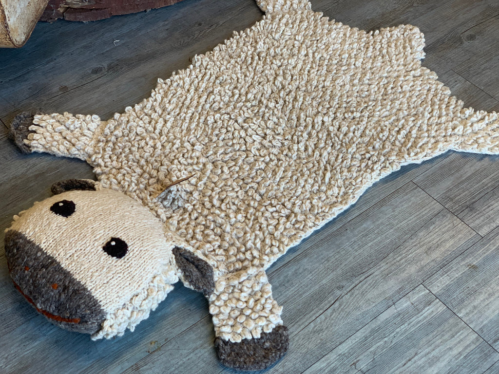 Handmade Knitted AMBER Sheep Blanket RUG