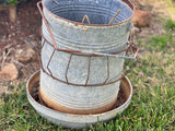 RUSTIC Galvanised Vintage Chicken Feeder