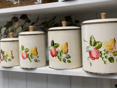 Vintage Set of 4 Kitchen FRUIT Canisters