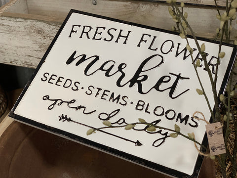 FRESH Flower Market Enamel Sign