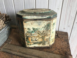 Hexagon Style Vintage Tin with Hinged Lid