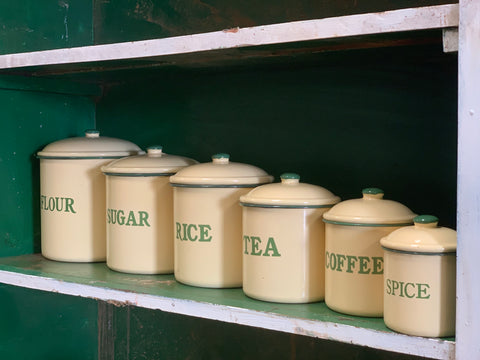 Vintage Enamel Cream and Green Canister Set