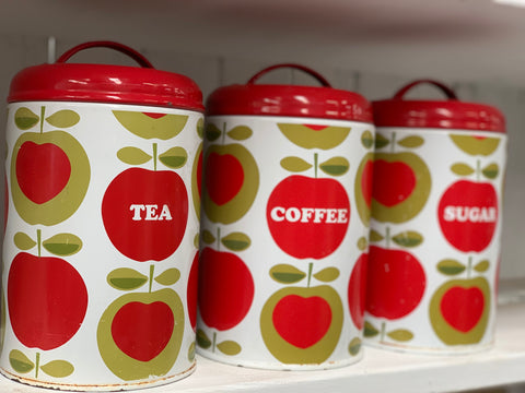 Vintage RED Apples Canister Set