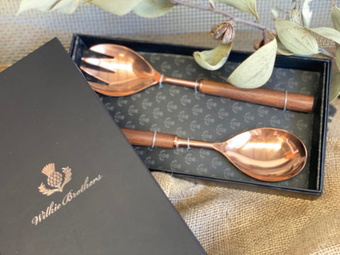 Rose GOLD Wooden Handle Salad Servers
