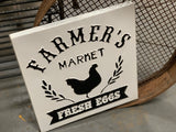 Farmers Market FRESH EGGS Enamel Sign