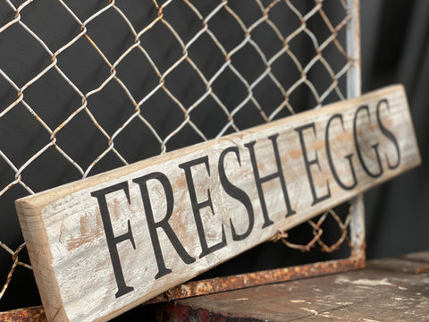 FRESH Eggs Handmade UPCYCLED Sign