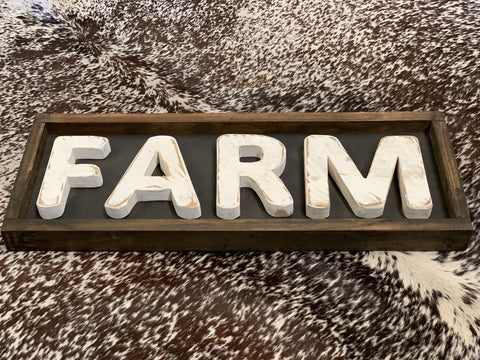 Handmade FARM Chunky Framed Sign