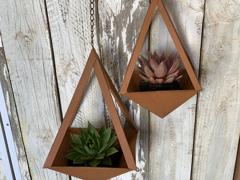 Hanging Rusty Diamond Planter FREE Postage