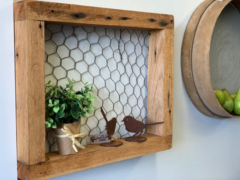 Chicken Wire Wall Shelf