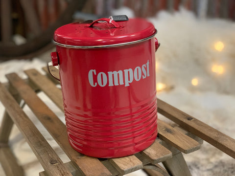 RED Enamel Compost Bin BUCKET