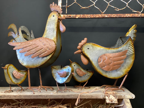 XL RUSTIC Chook Planter Rooster and Hen Set of 2