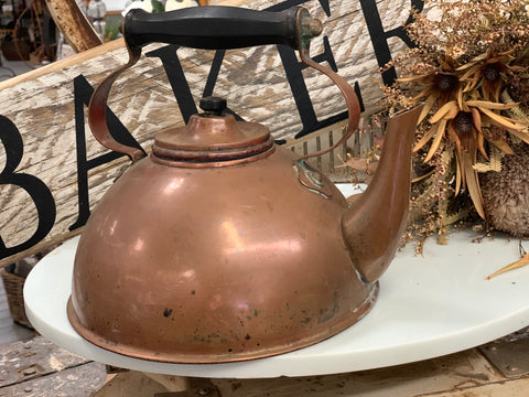 Vintage Flat Bottom Copper Kettle