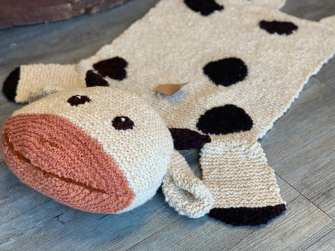 Handmade Knitted CINDY Cow Blanket RUG
