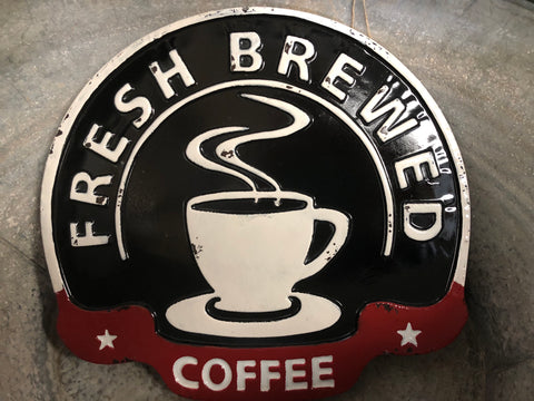 FRESH Brewed Coffee Enamel Sign
