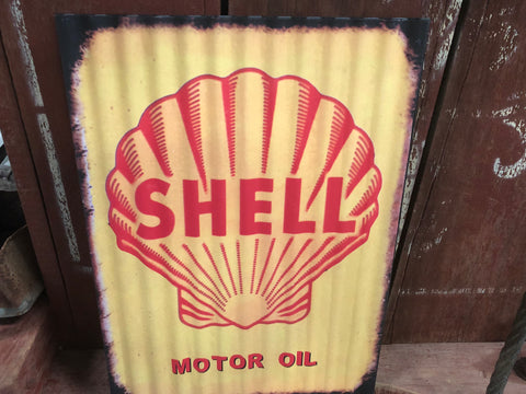 Distressed Shell Tin Sign