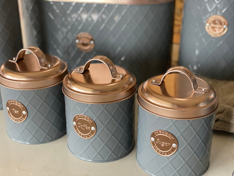 Rose Gold Tea Coffee Sugar Canister Set