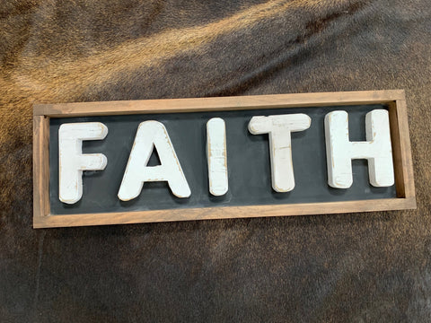 Handmade Faith Timber Framed Sign