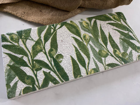 Olive Crackle Tray