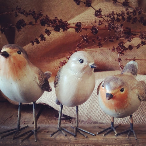 Set of 3 Mixed Robins Resin BIRDS