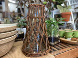 XL Rattan Wrapped Vase