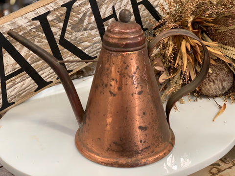 Vintage Copper Oil Jug with Lid