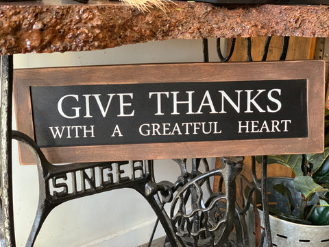 Handmade Give Thanks Sign