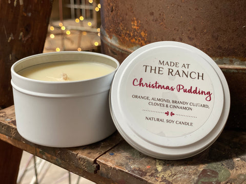 NEW SIZE Christmas Pudding Tin Candle
