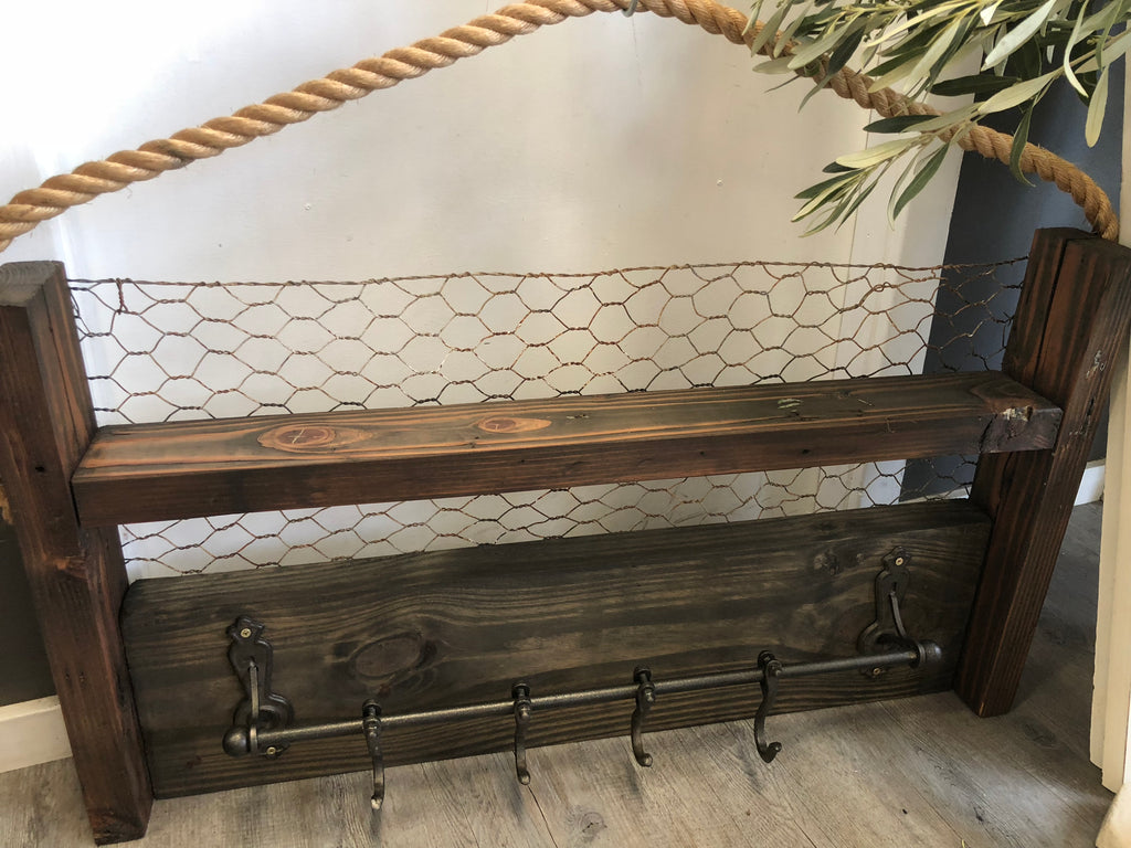 Handmade Chicken Timber Wire Shelf with Hooks