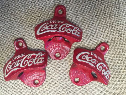 Cast Iron Coke Bottle Opener RED