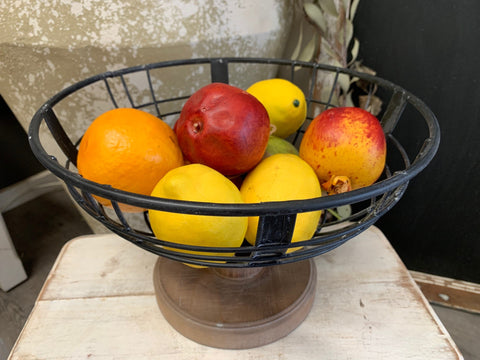 NEW black and timber FRUIT bowl