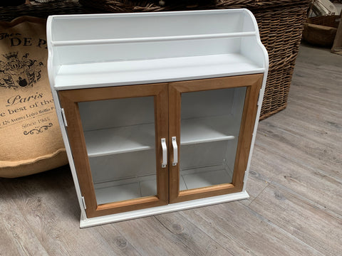 Metal Wall Cabinet with Glass and Timber Doors