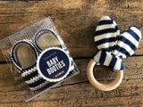 Crocheted Navy & White Booties