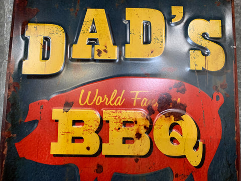 Dad's World Famous BBQ Metal Sign