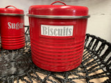 Red LARGE Canister Tin
