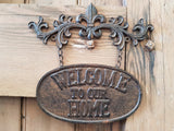 Cast Iron Metal Sign WELCOME HOME