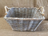 Rectangle Rattan Basket Grey Wash with Rope Handles